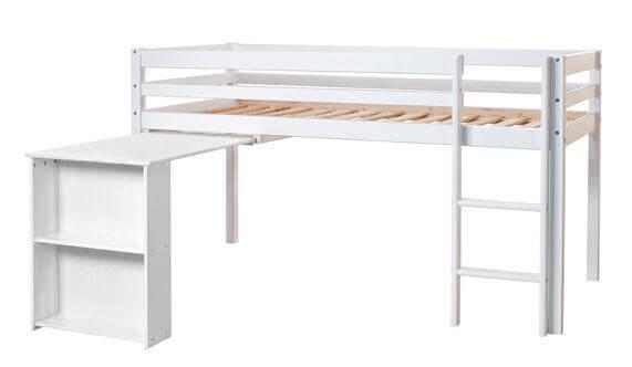 Halvhøj seng m. udtræksbord - FLEXA Basic Hit - Fleksibel løsning til børneværelset