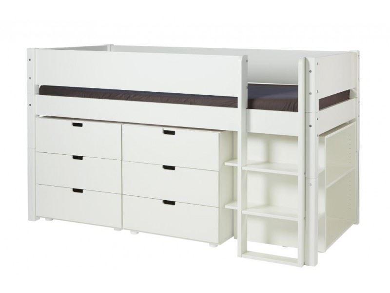 høj seng med opbevaring Halvhøj seng med opbevaring, ARN 90x200 cm   Manis h høj seng med opbevaring