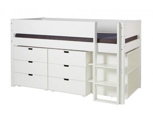 Image of   Halvhøj seng med opbevaring, Hvid 90x200 cm - Manis-h
