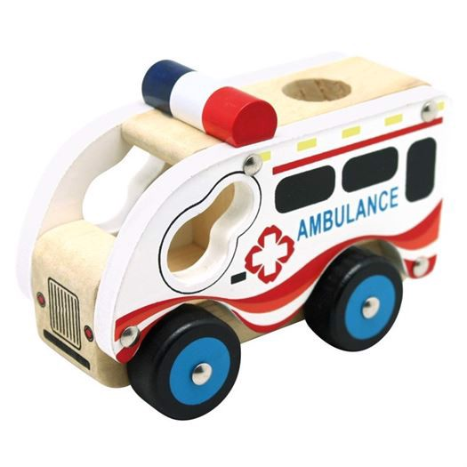 Image of   Ambulance i træ - Bino Toys