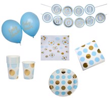Babyshower Party Box - Pattern Works Lyseblå Dots til 8 pers.