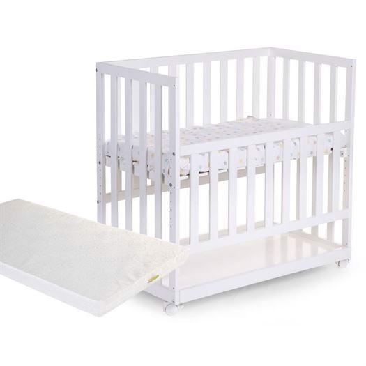 Image of   Bedside Crib incl. hjul og madras, Hvid - Childhome