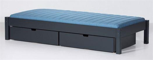 Image of   Briks med 2 sengeskuffer, 160 cm Antracit grå m. naturben - Manis-h