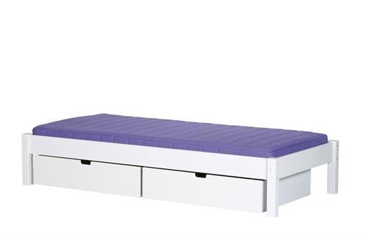 Image of   Briks med 2 sengeskuffer, 160 cm Hvid - Manis-h