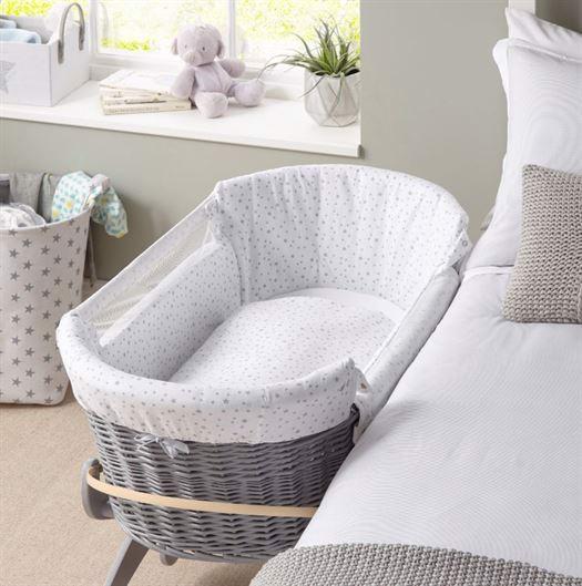 Image of   Bedside Crib, Grå kurveflet - Clair de Lune