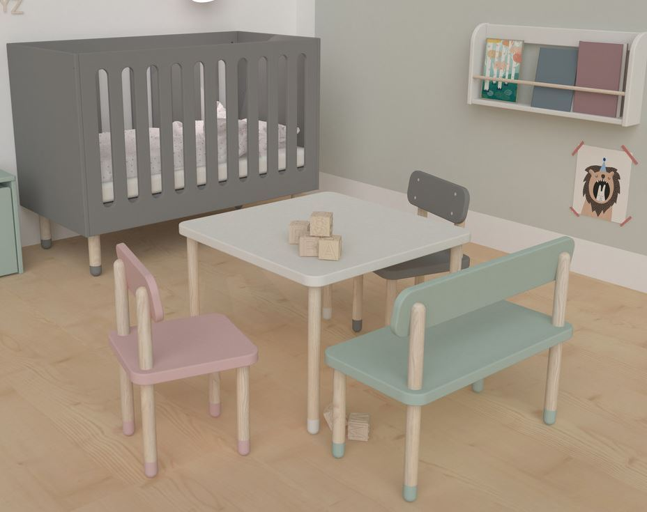 Fantastisk Børnestol med ryglæn og smukke Aske træben FLEXA Play - kan bruges TB81
