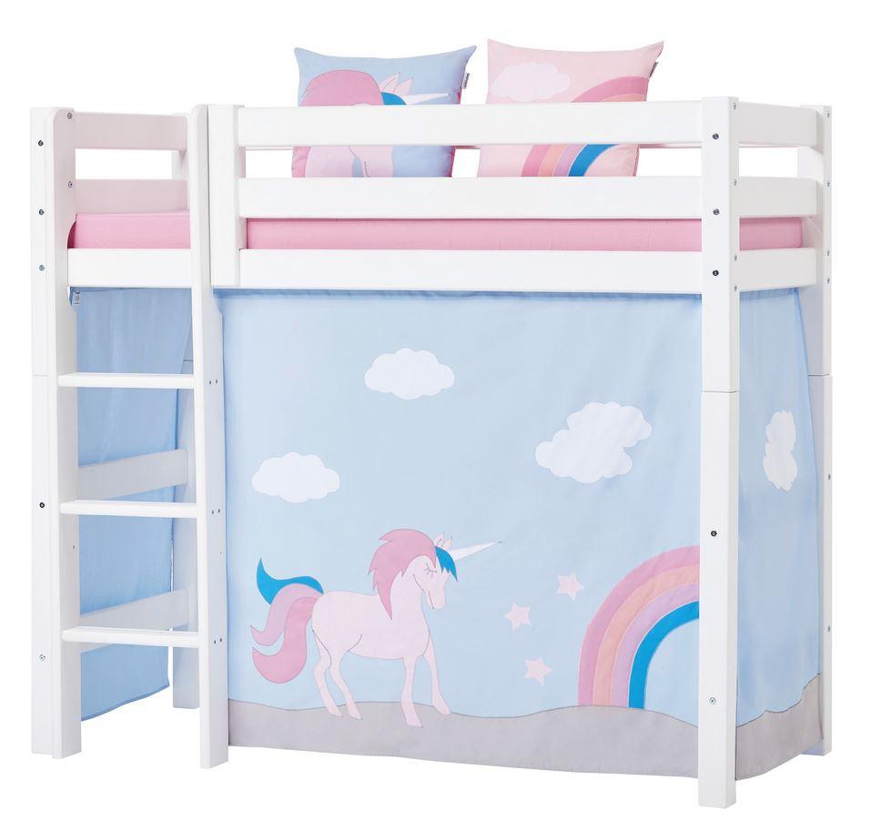 mellemhøj seng Forhæng, Unicorn til mellemhøj seng 70x160 cm   Hoppekids mellemhøj seng