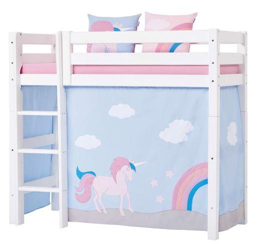 Image of   Forhæng, Unicorn til mellemhøj seng 70x160 cm - Hoppekids