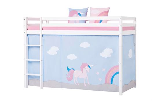 Image of   Forhæng, Unicorn til mellemhøj seng 90x200 cm - Hoppekids