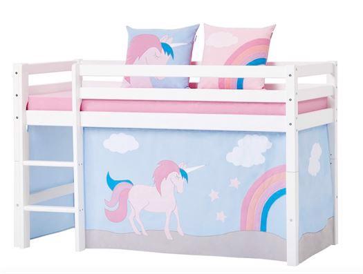 forhæng til halvhøj seng Forhæng, Unicorn til halvhøj seng fra Hoppekids forhæng til halvhøj seng