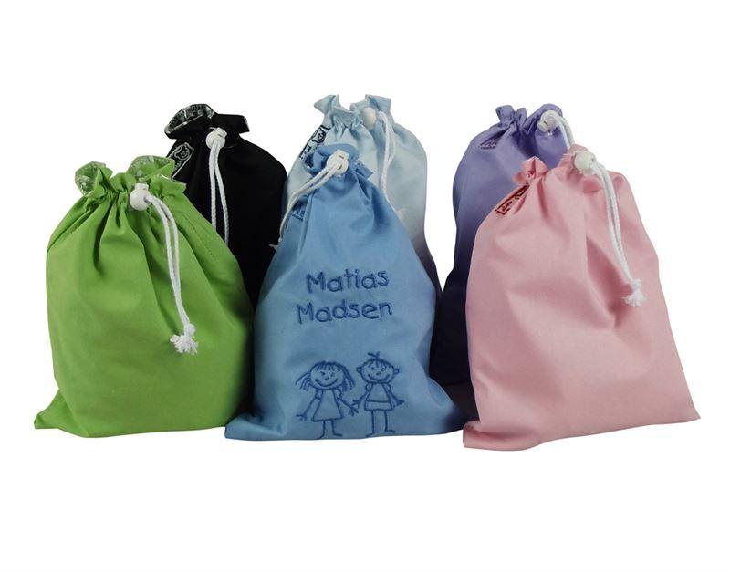 Frugtpose med navn - Broderet - Frugtpose til vuggestuen, børnehaven, fritidshjem og skolen