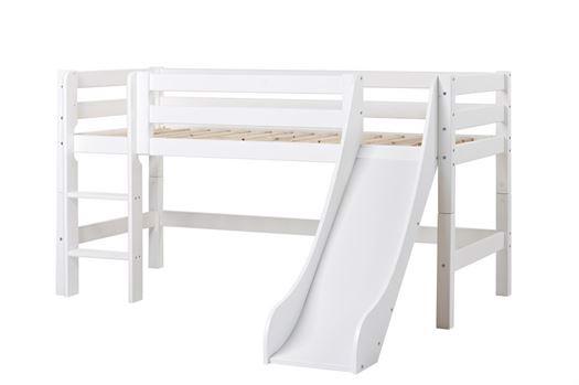 Image of   Halvhøj seng delbar m. rutsjebane 70x160 cm, Premium - Hoppekids