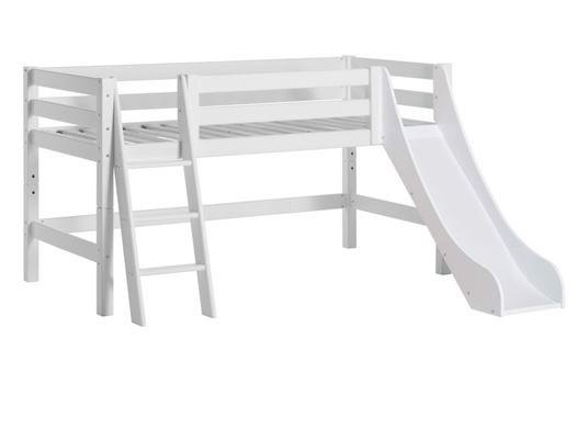 Image of   Halvhøj seng delbar m. skrå stige og rutsjebane 70x160 cm, Premium - Hoppekids