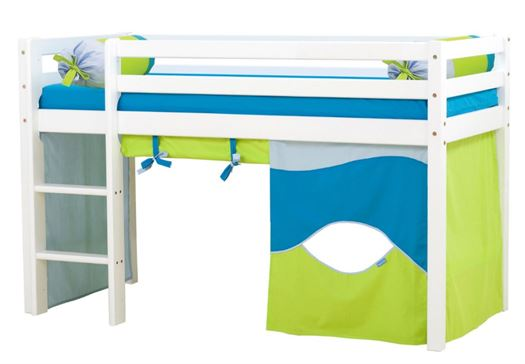 Halvhøj seng KAMPAGNE m. tilbehør, Aqua, 160 cm - Hoppekids thumbnail