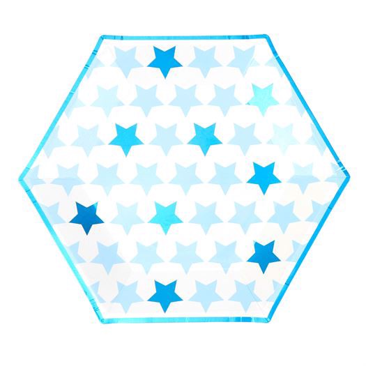 Paptallerkner 8 stk. - Little Star Blue