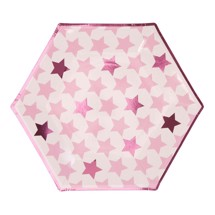 Paptallerkner 8 stk. - Little Star Pink