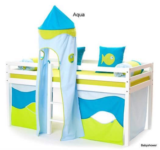 Aqua forhæng til halvhøje senge 160 cm - Hoppekids thumbnail