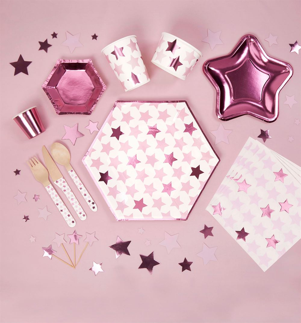 Kagepynt 20 stk. - Little Star Pink