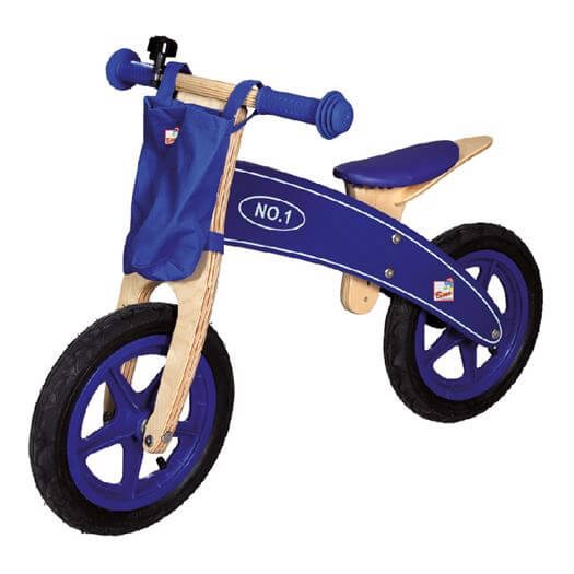 Image of   Balancecykel Træ, Blå - Bino Toys