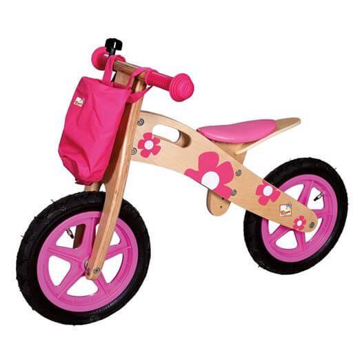 Image of   Balancecykel, Træ, Pink - Bino Toys