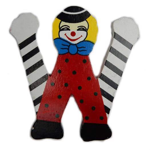 Image of   Bogstav W, Klovnemotiv - Bino Toys