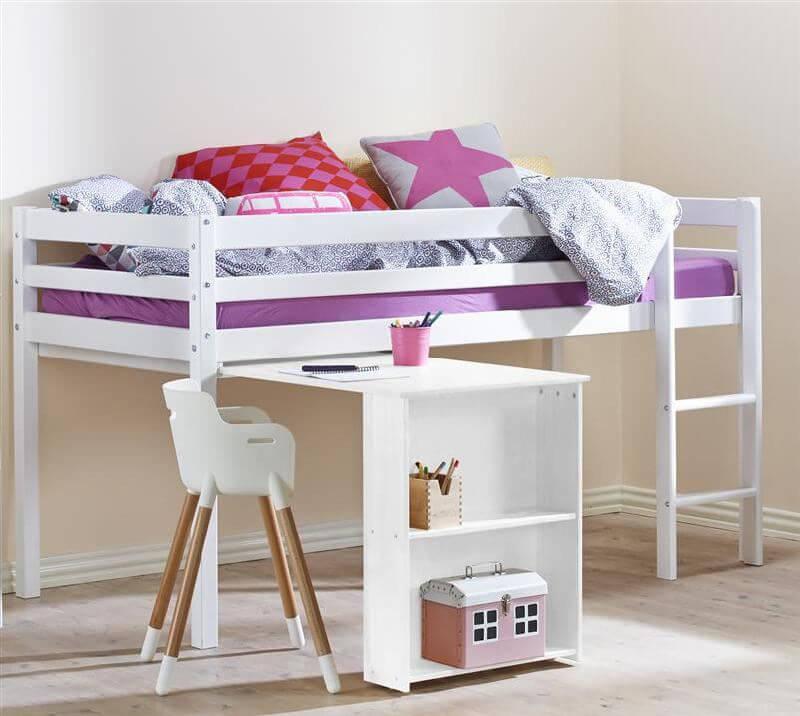 Cool Halvhøj seng m. udtræksbord - FLEXA Basic Hit - Fleksibel løsning RP24