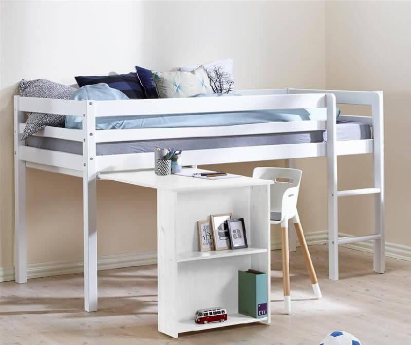flexa halvhøj seng Halvhøj seng m. udtræksbord   FLEXA Basic Hit   Fleksibel løsning  flexa halvhøj seng