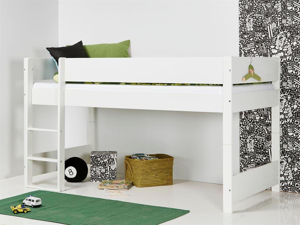 Huxie Manis-h halvhøj seng, delbar - 160 cm - incl. madras, blåt madrasbetræk og sengehest