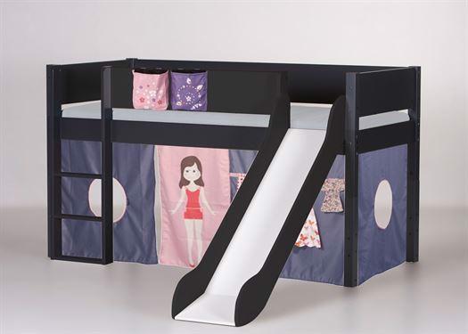 Halvhøj seng med rutsjebane, 160 cm Antracit - Manis-h thumbnail