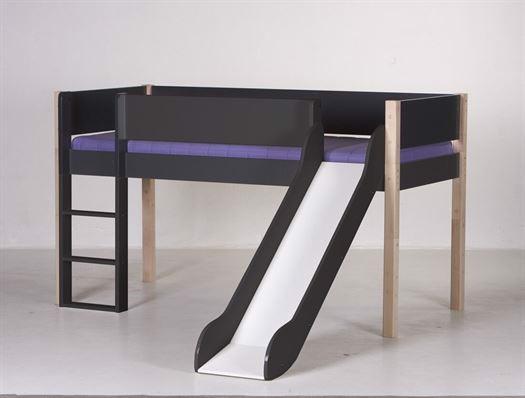 Image of   Halvhøj seng med rutsjebane, 160 cm Antracit med natur - Manis-h