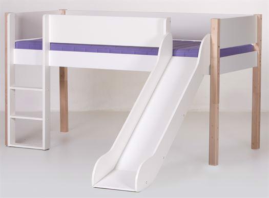 Image of   Halvhøj seng med rutsjebane, 160 cm Hvid med natur - Manis-h