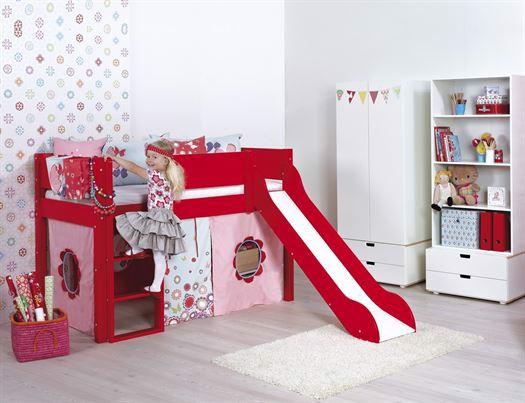 Image of   Halvhøj seng med rutsjebane, 160 cm Valgfri farve - Manis-h