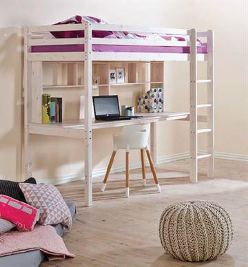 Udtræksskrivebord med bogreol, Hoppekids - Udtræksskrivebord til halvhøj sengen, Hoppekids fra ...