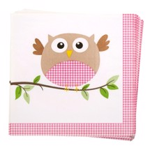 Servietter, 16 stk. Pink - Little Owls