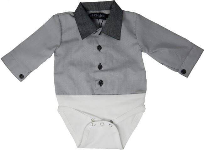 Af modish Skjorte med bodylukning, grå - Cadeau - så fin skjorte til lillemanden XT83