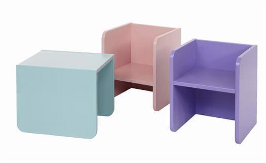 Stol, 3 i 1 børnemøbel, Hvid - Manis-h thumbnail